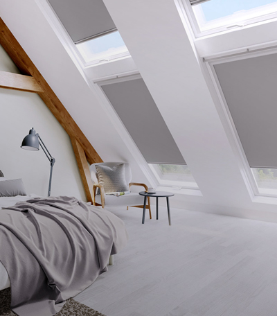 Roof Blinds in colour Grey